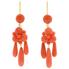 Victorian Coral Girandole Earrings