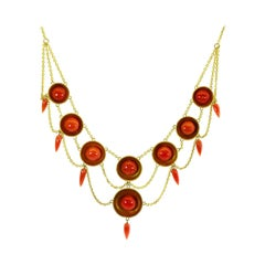 Victorian Coral and Gold Necklace