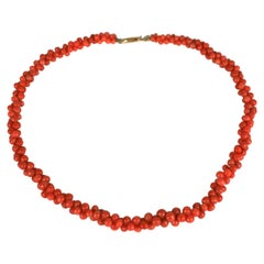 Victorian Coral Graduated Toggle Necklace