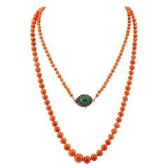 Victorian Coral Necklace with Rose-Cut Diamond and Green Chalcedony Clasp