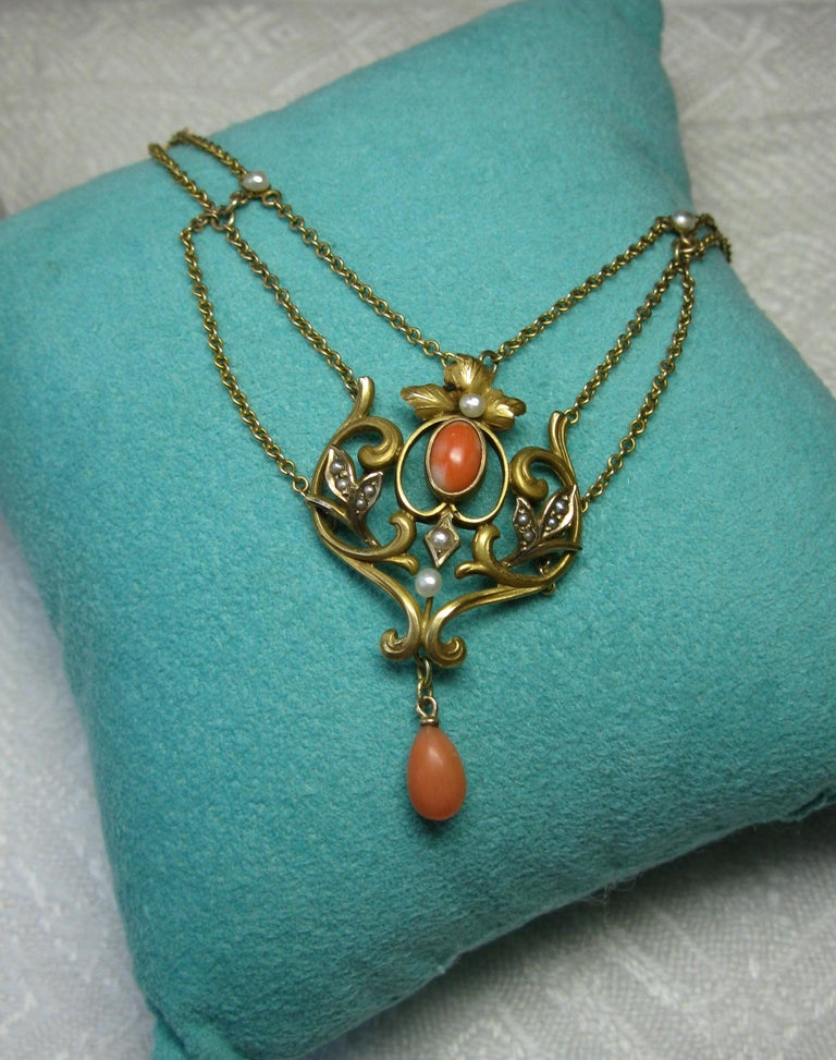 Pear Cut Victorian Coral Pearl Festoon Swag Necklace Antique Gold For Sale