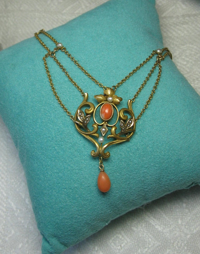 Women's Victorian Coral Pearl Festoon Swag Necklace Antique Gold For Sale