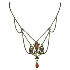 Victorian Coral Pearl Festoon Swag Necklace Antique Gold