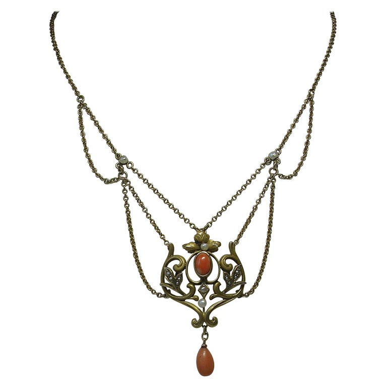 Victorian Coral Pearl Festoon Swag Necklace Antique Gold For Sale