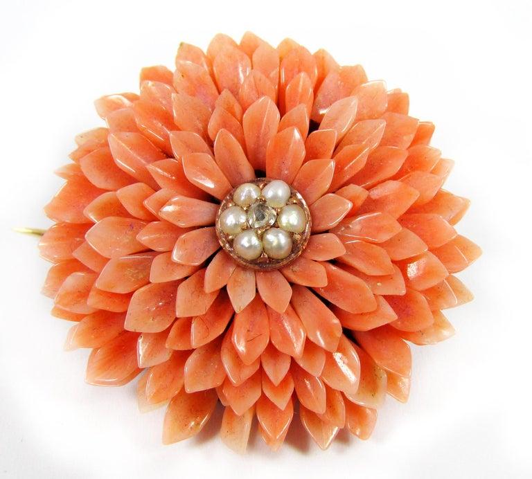 Women's or Men's Victorian Coral Pearl Gold Demi-Parure For Sale