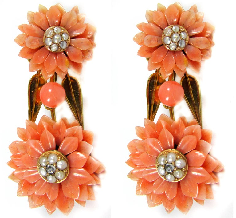 Victorian Coral Pearl Gold Demi-Parure For Sale 3