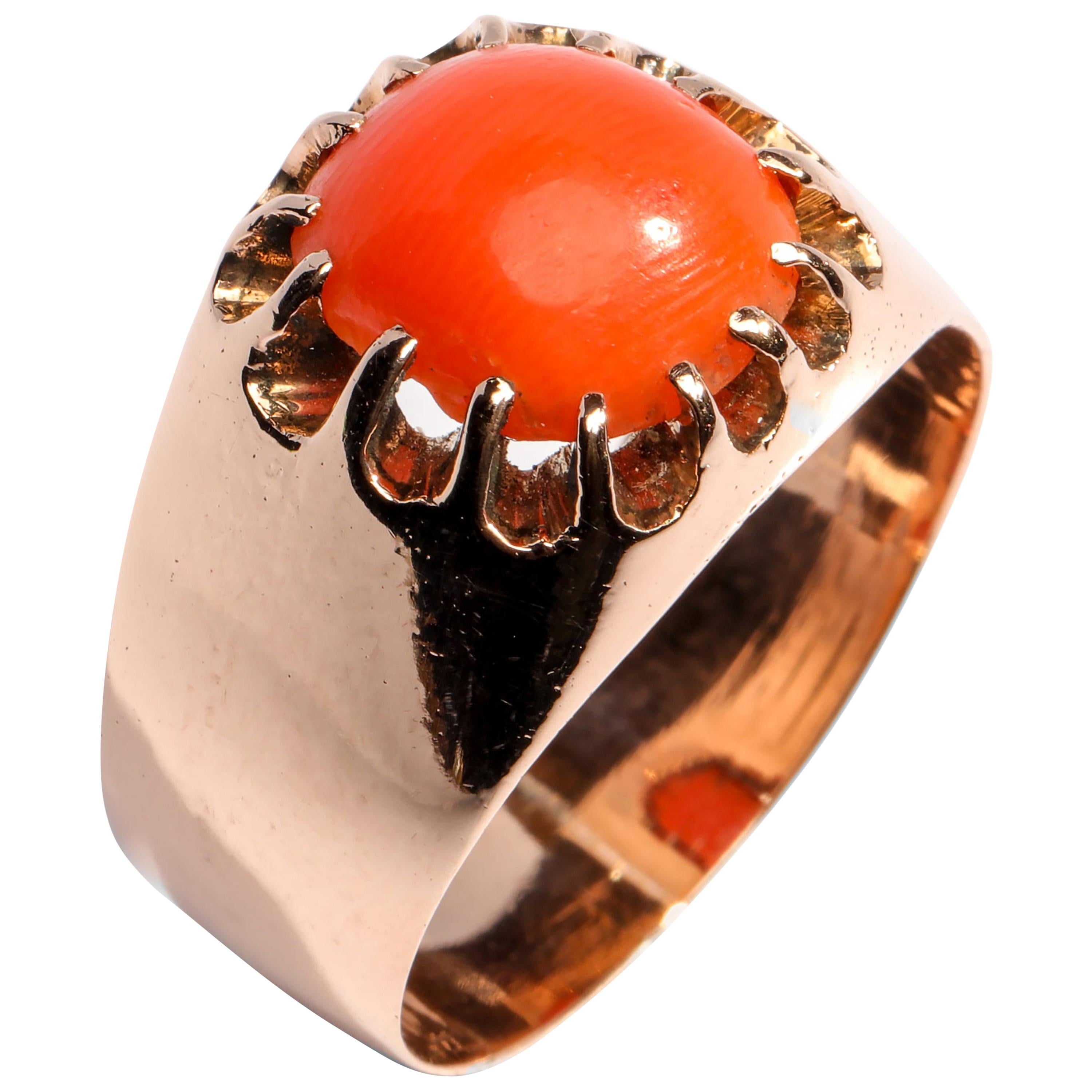 Victorian Coral Ring Originally for a Man