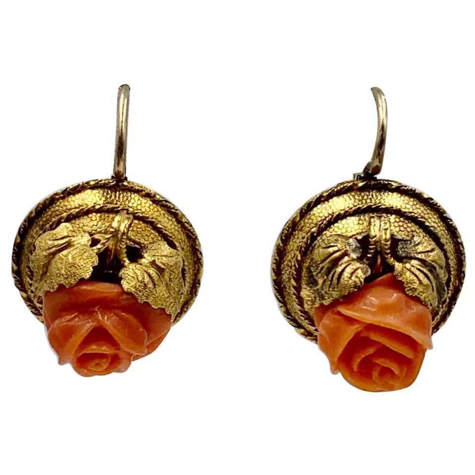 Victorian Coral Rose Earrings Etruscan Revival 14 Karat Gold Flower Leaf Motif