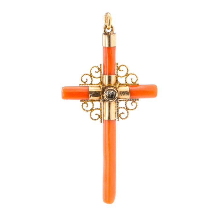 Victorian Coral Seed Pearl Gold Stanhope Lens Cross Pendant In Good Condition For Sale In Los Angeles, CA