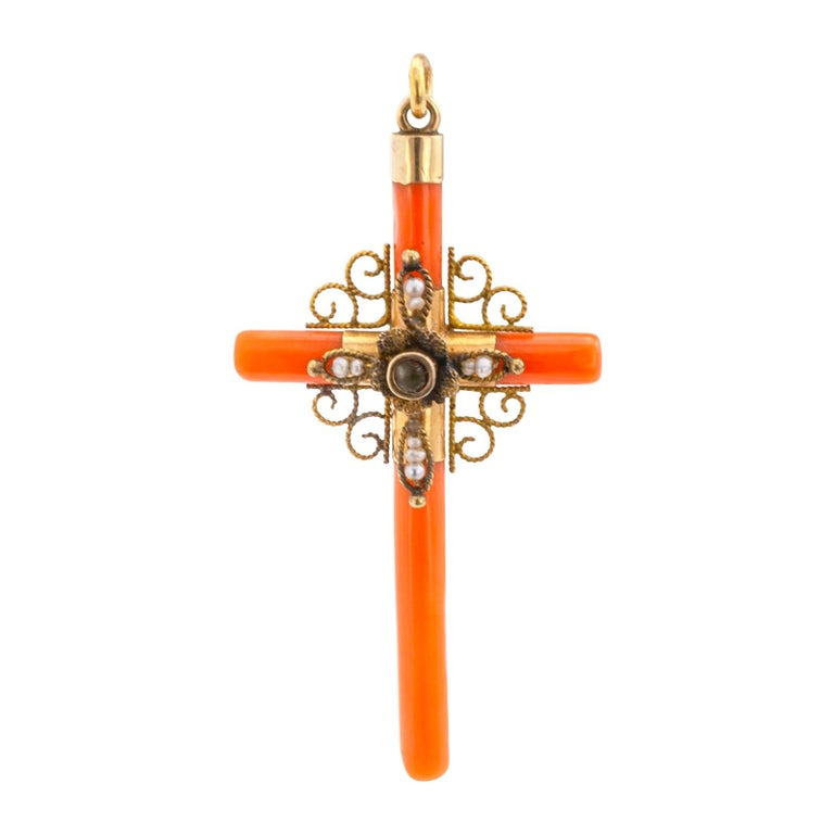 Victorian Coral Seed Pearl Gold Stanhope Lens Cross Pendant For Sale