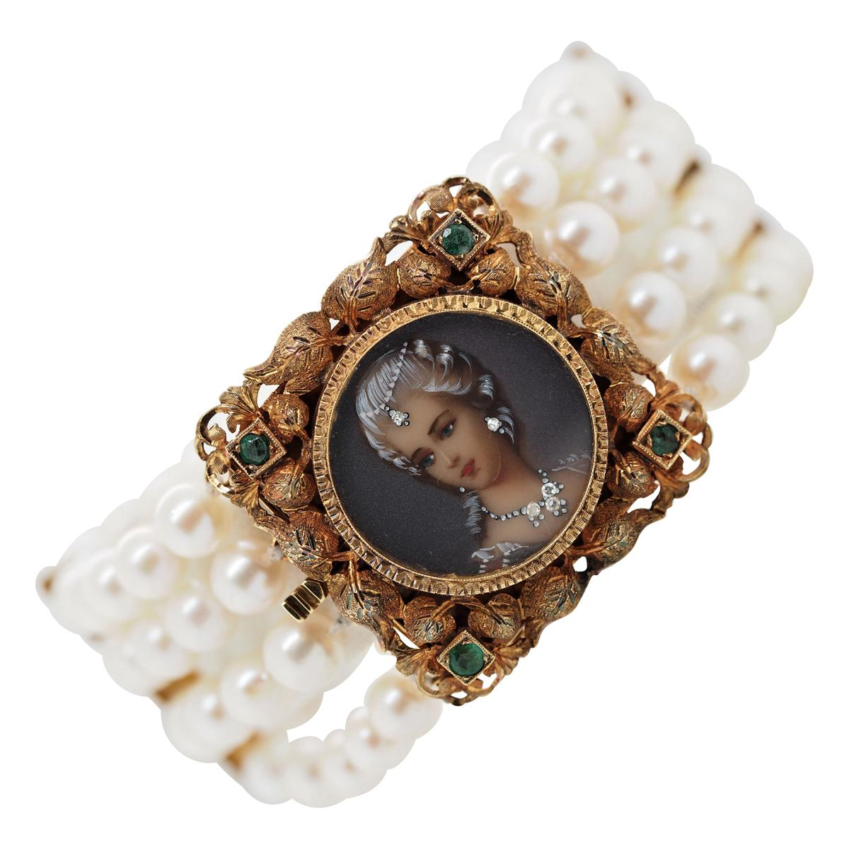 Victorian Corletto Akoya Pearl and Diamond 18 Karat Yellow Gold Bracelet