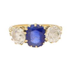 Victorian Blue Sapphire and Diamond Three-Stone Engagement Ring in 18k Gold