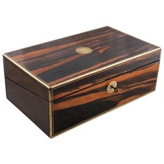 Victorian Coromandel Wood Writing Box, 19th Century