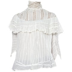 Victorian White Cotton Voile Swan Neck Pintucked Blouse With Lace Ruffled Yoke