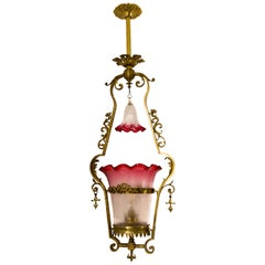 Victorian Cranberry Glass and Bronze Pendant Hall Light