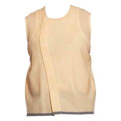 Victorian Cream Wool Asymmetrical Button Up Sleeveless Shirt