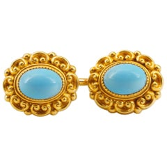 Victorian Turquoise Cufflinks in Gold