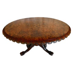 Victorian Curved Burl Walnut Center Table with Inlay