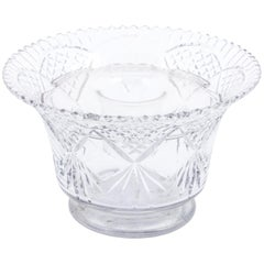 Victorian Cut Crystal Bowl Center Piece with Flower Frog