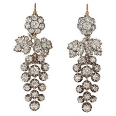 Victorian Day-to-Night Old-Mine-Cut Diamond Grape Cluster Pendant Earrings