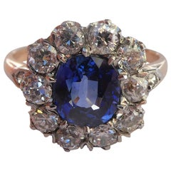 Victorian Deep Blue Sapphire Old Cut Diamond 18 Karat Rose Gold Cluster Ring