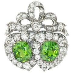 Victorian Demantoid Garnet and Diamond Double Heart Ring