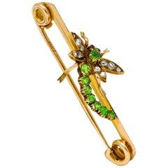 Victorian Demantoid Garnet Diamond 14 Karat Gold Dragonfly Safety Pin Brooch