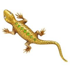 Victorian Demantoid Garnet Diamond 14 Karat Gold Lizard Brooch