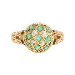 Victorian Demantoid Garnet Diamond Chequerboard Ring
