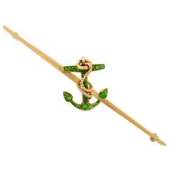 Victorian Demantoid Garnet Nautical Anchor Bar Pin