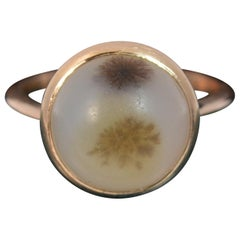Victorian Dendritic Agate Solitaire 9 Carat Rose Gold Statement Ring