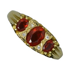 Victorian Design 18ct Gold Fire Opal and Diamond Cluster Ring