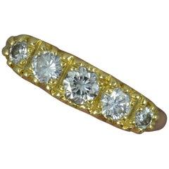 Victorian Design VS1 0.65 Carat Diamond 18 Carat Gold Five-Stone Stack Ring