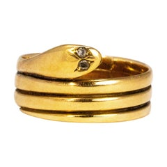 Victorian Diamond and 18 Carat Gold Snake Ring