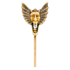 Victorian Diamond 10 Karat Gold Winged Devil Stickpin