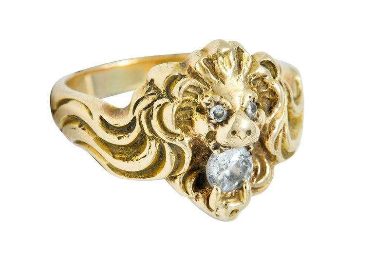 Victorian Diamond 14 Karat Gold Lion Band Ring, circa 1890 For Sale 5