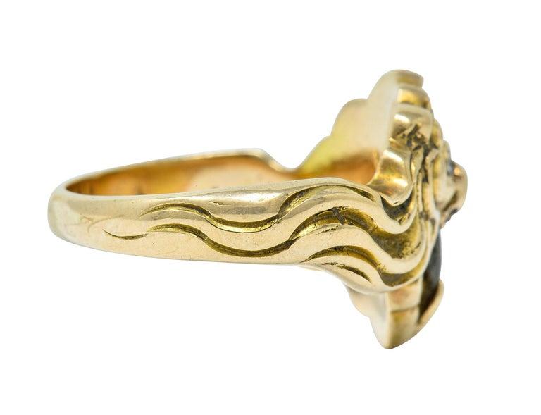 Oval Cut Victorian Diamond 14 Karat Gold Lion Band Ring, circa 1890 For Sale