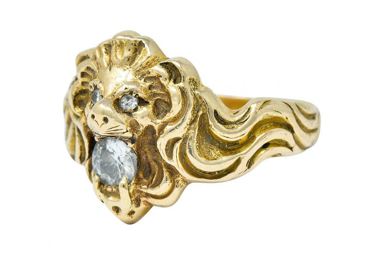 Victorian Diamond 14 Karat Gold Lion Band Ring, circa 1890 For Sale 1