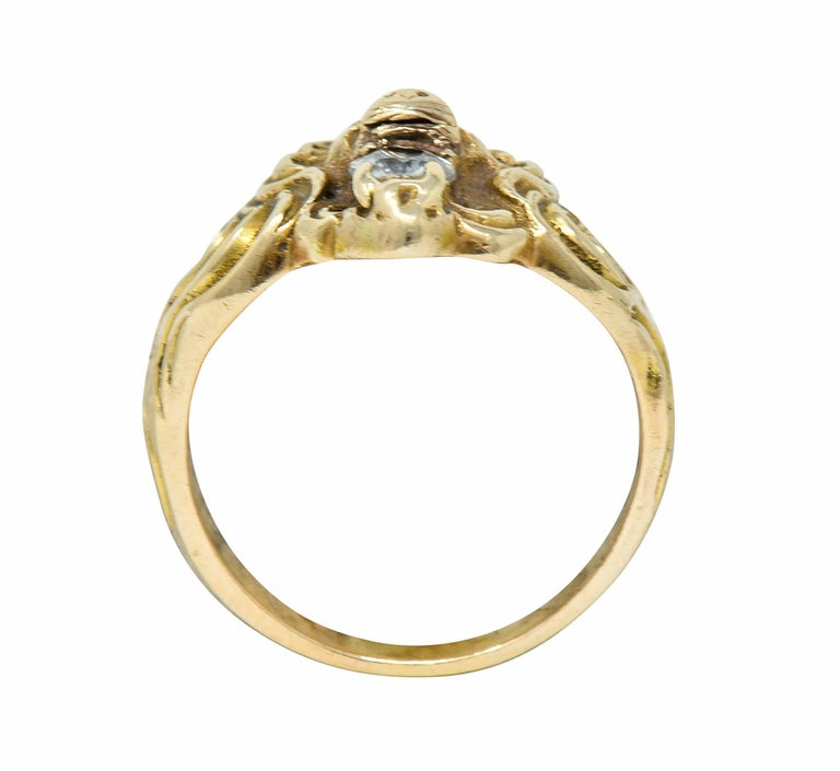 Victorian Diamond 14 Karat Gold Lion Band Ring, circa 1890 For Sale 2