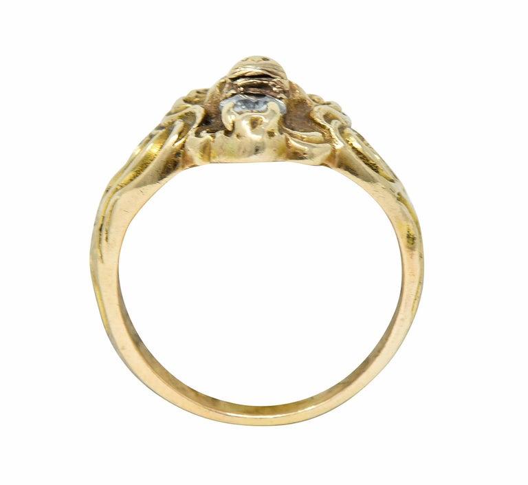 Victorian Diamond 14 Karat Gold Lion Band Ring, circa 1890 For Sale 2