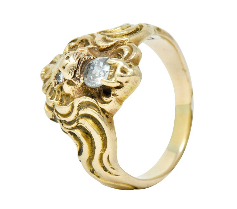 Victorian Diamond 14 Karat Gold Lion Band Ring, circa 1890 For Sale 4