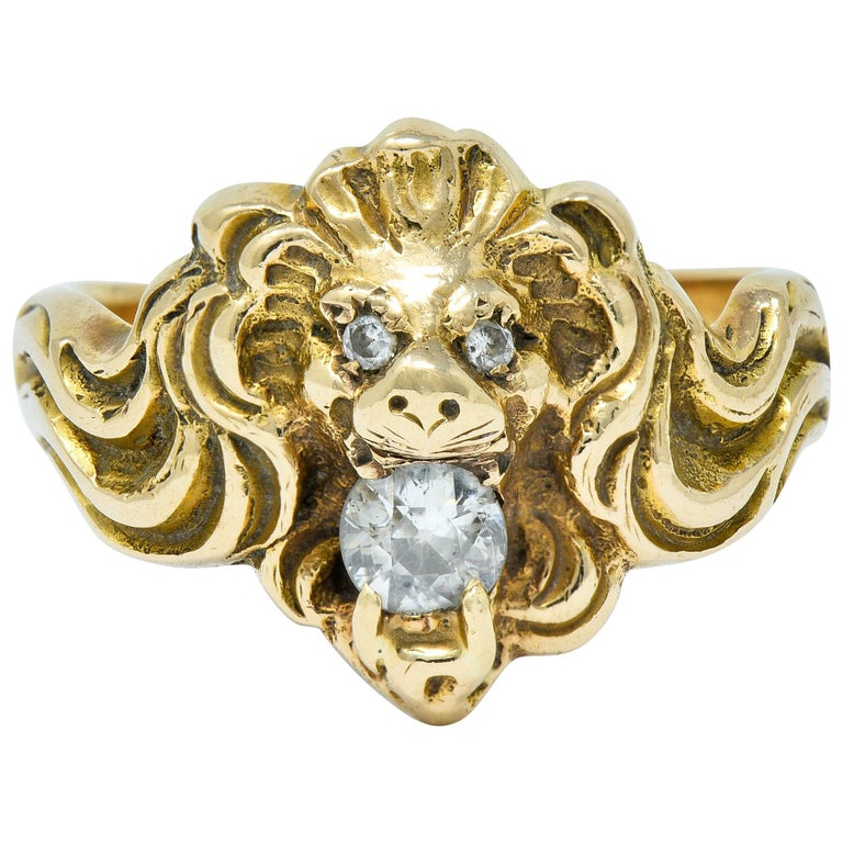 Victorian Diamond 14 Karat Gold Lion Band Ring, circa 1890 For Sale