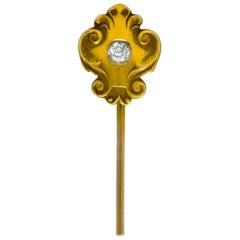 Victorian Diamond 14 Karat Gold Scrolling Stickpin