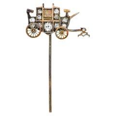Victorian Diamond 14 Karat Gold Stagecoach Stickpin, circa 1900