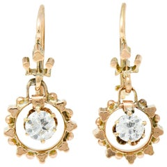 Victorian Diamond 14 Karat Rose Gold Drop Earrings