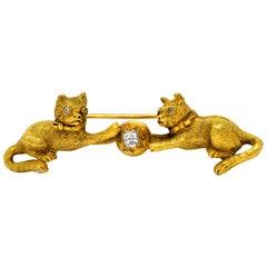 Victorian Diamond 18 Karat Yellow Gold Kitten Cat Bar Brooch