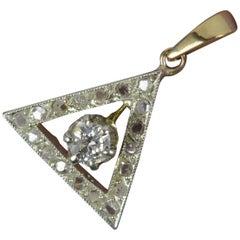 Victorian Diamond & 9ct Gold Triangular Pendant Charm Deathly Hallows