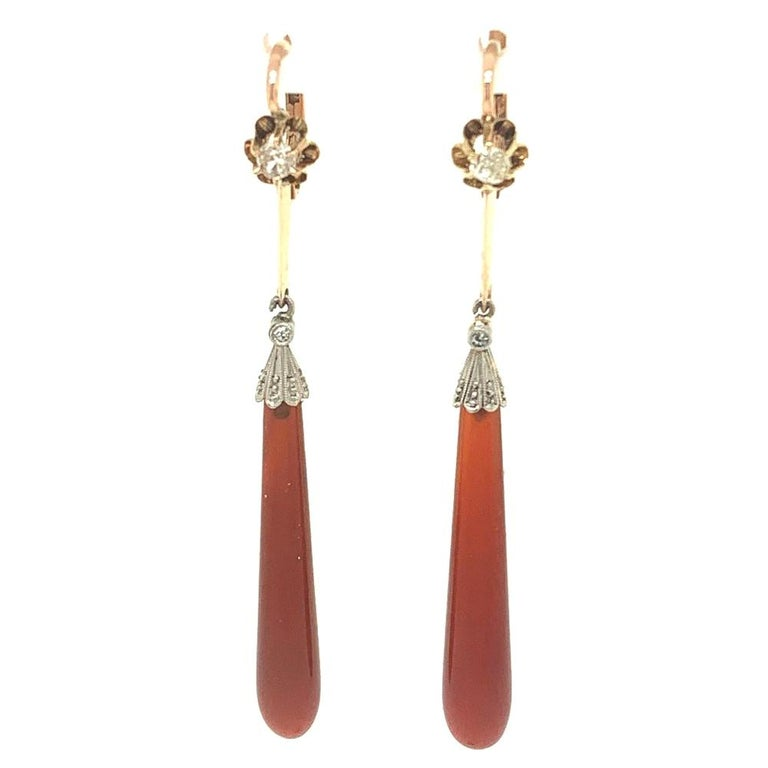 Victorian Diamond Agate Drop Earrings For Sale