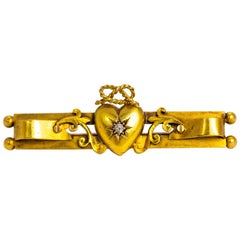 Victorian Diamond and 15 Carat Gold Heart Detail Brooch