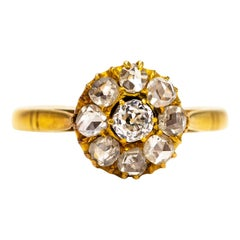 Victorian Diamond and 18 Carat Gold Cluster Ring